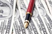 Stylo gros plan sur l'argent — Photo