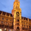 The night view of town hall at the Marienplatz in Munich - Stock Photo