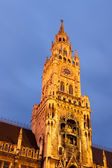 The night view of town hall at the Marienplatz in Munich — Stock Photo