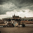 Vltava river and cityscape of Prague - Stock Photo