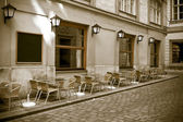 Vintage style photo of outdoor cafe — Stock Photo
