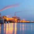 Chemical plant with ships — Stock Photo