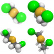 Mustard gas (Yperite, bis(2-chloroethyl) sulfide) structure - Stock Photo