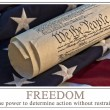 Stock Photo: United States Constitution and flag - famous US document