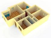 Vista em perspectiva de apartamento com paredes — Foto Stock