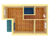 Top view of small apartment with walls — Stock Photo