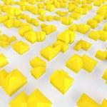 Flygfoto över en grupp av små gula hus — Stockfoto
