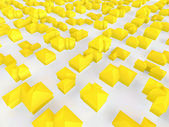 Aerial view of a group of small yellow houses — Stock Photo