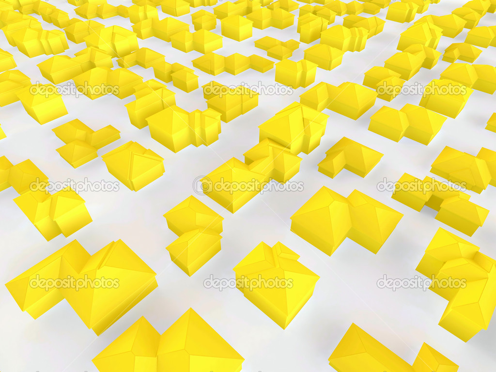 Aerial view of group of simple models of yellow houses — Stock Photo #10226145