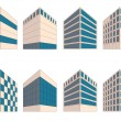 Stock Vector: Various signs of buildings in perspective