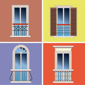 Four classical types of french balconies over stucco background — Stock Vector