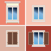 Four classical types of windows over stucco background — Stock Vector