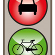 Green for bike, red for car - Stock Vector