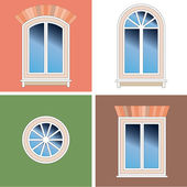 Four classical types of arched windows with brick brattice over stucco background — Stock Vector