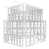 Erspective view of wireframe seven storey building — Stock Photo