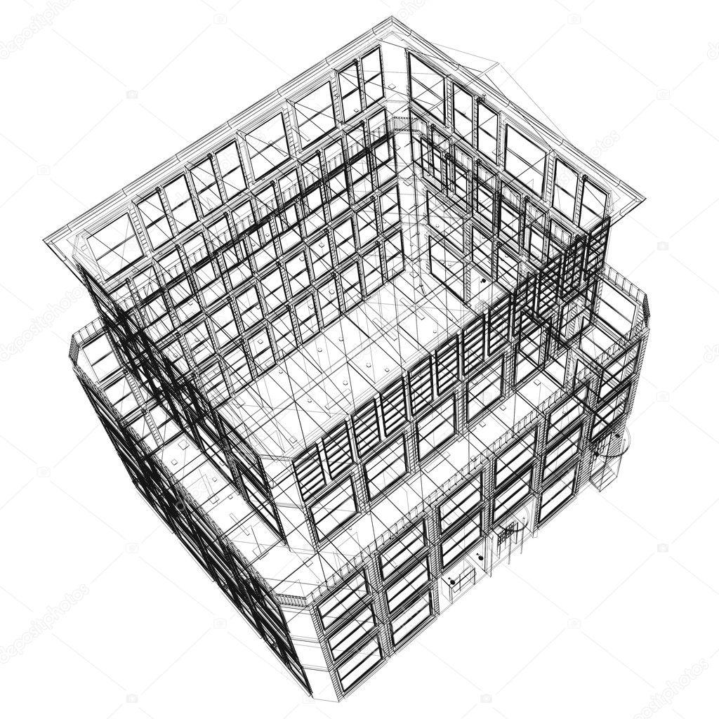 Modele Batiment En Perspective : Vue en perspective du filaire sept étages b timent de haut