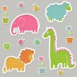 Collection of cute text frames in the shape of animals — Stock Vector