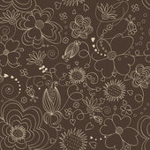 Brown floral pattern — Stock Vector