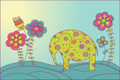 The elephant and flowers — Wektor stockowy