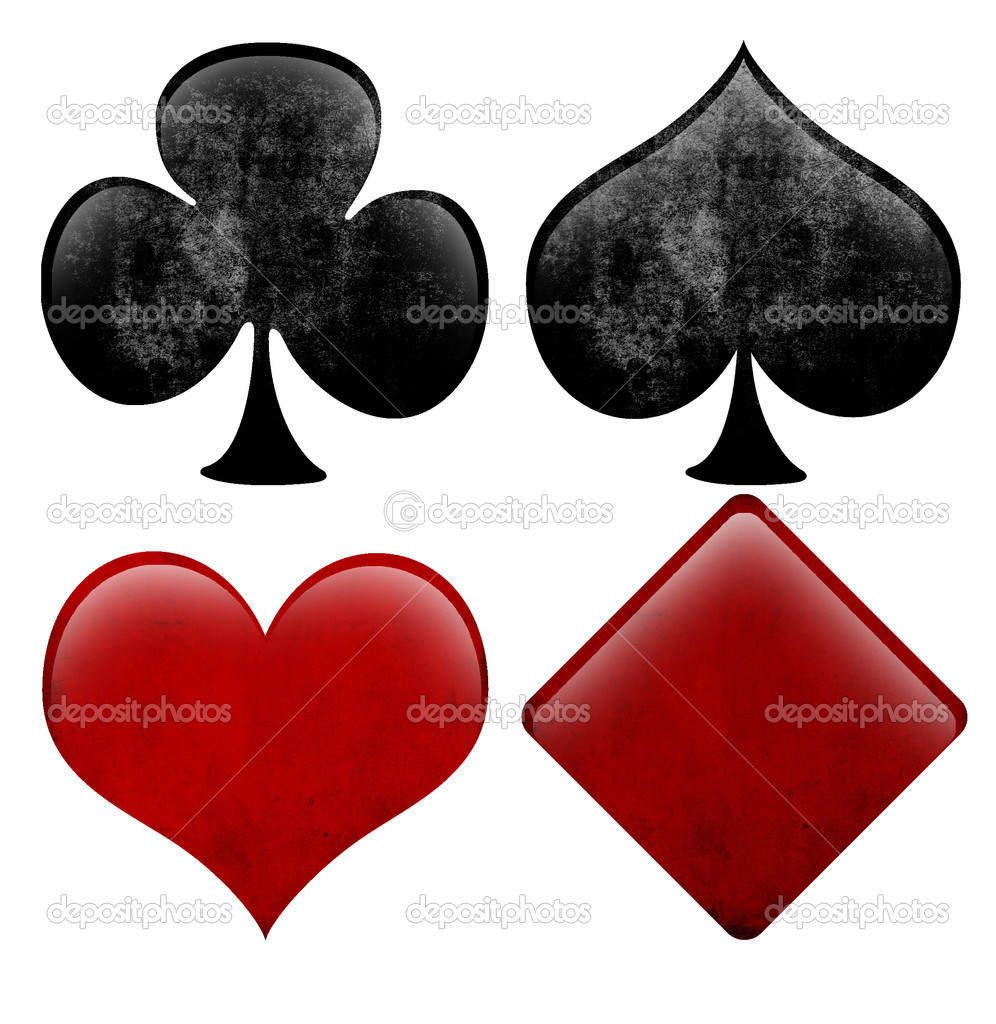 Abstract figures of shapes hearts, spades, clubs and diamonds, decorated with grunge texture — Stock Photo #9179798