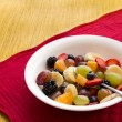 Bowl of Fruit on a Red Mat — Stock Photo