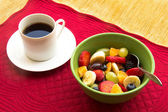 Fruit Bowl and Coffee — Stock Photo