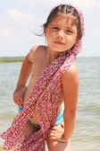 Girl on the summer beach — Stock Photo