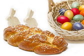 Home made sweet braided bread with easter bunnies — Stock Photo