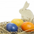Hand painted easter eggs with bunny — Stock Photo