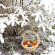 Easter Eggs in Snow - Stock Photo