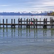 "Jetty at ""Starnberger See"" Lake in Bavaria, Germany - Stock Photo"