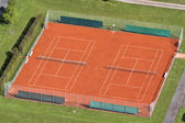 Tennis court seen from the air — Stock Photo