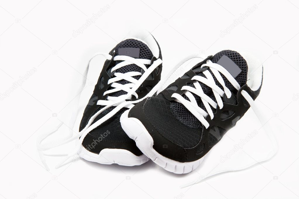 Black and white sport shoes on white background  Stock Photo #9140813