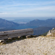 Resting bench in the bavarian alps, Germany — Stock fotografie