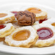 Stock Photo: Delicious christmas cookies with raspberry jam