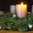 Advent wreath with one burning candle — Stock Photo