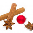 Stock Photo: Cinnamon sticks with star aniseed and christmas ball