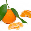 Fresh mandarin on white background — Stock Photo