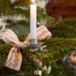 Christmas decoration, burning candle — Stock Photo #9176732