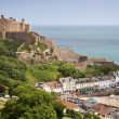 The small town of Gorey with Mont Orgueil Castle, Jersey, UK - Stock Photo