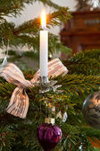 Christmas decoration, burning candle — Stock Photo