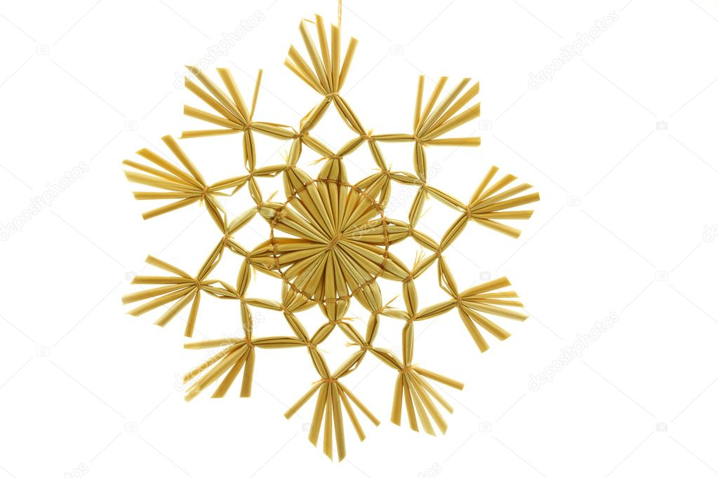 Straw star for a christmas tree on white background — Stockfoto #9176350