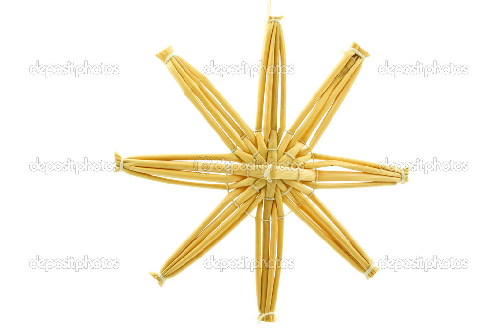 Straw star for a christmas tree on white background — Stock Photo #9176364