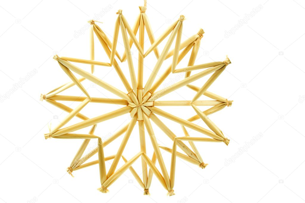 Straw star for a christmas tree on white background — Stockfoto #9176372