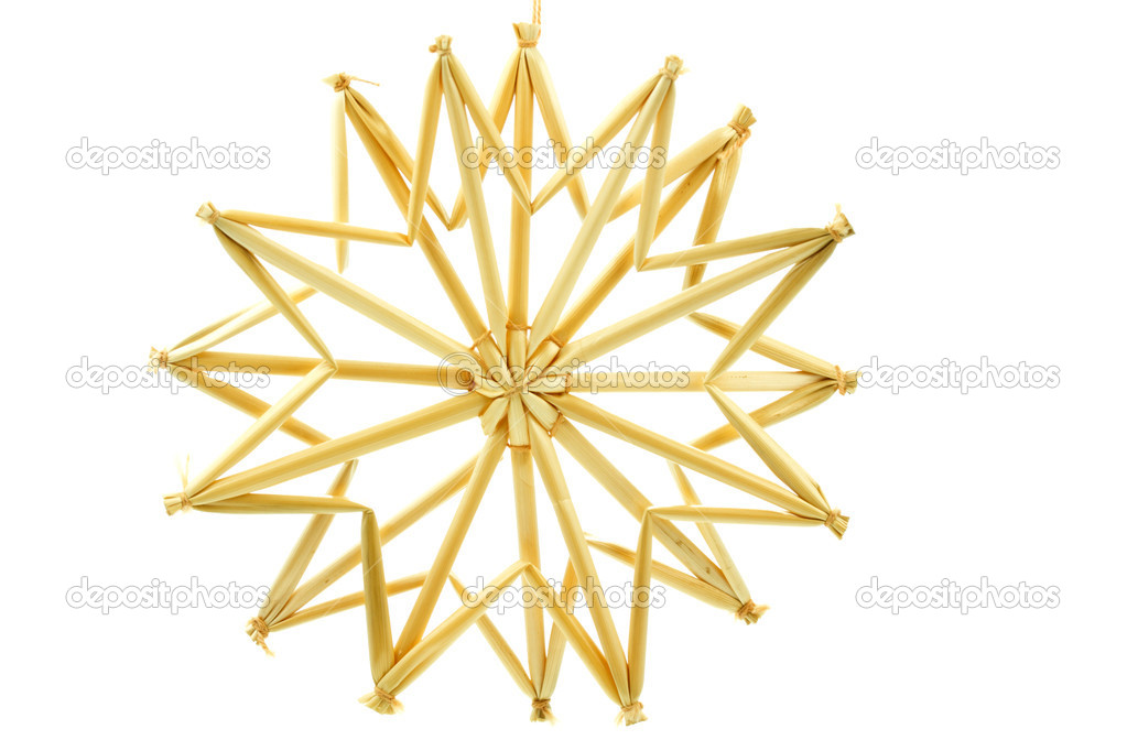Straw star for a christmas tree on white background — Foto Stock #9176372