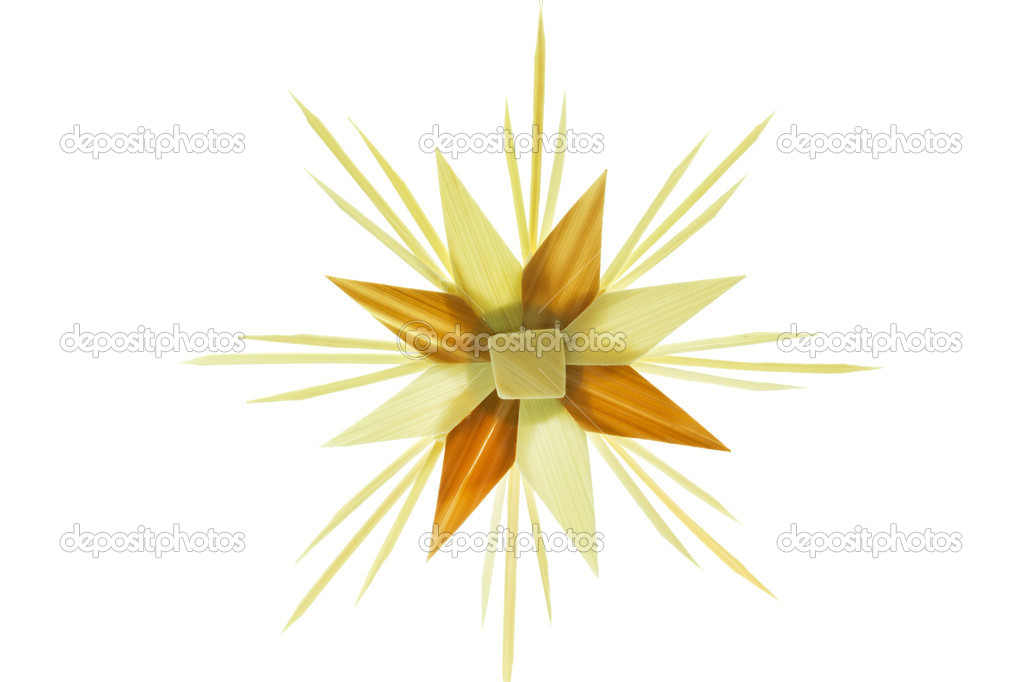 Straw star for a christmas tree on white background — Stock Photo #9176394