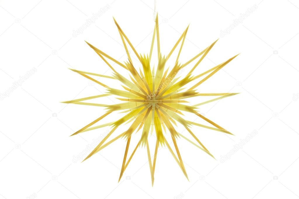 Straw star for a christmas tree on white background — Foto Stock #9176398
