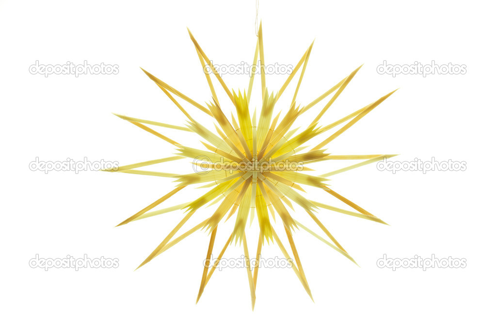 Straw star for a christmas tree on white background — Zdjęcie stockowe #9176398