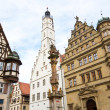 Town hall with ancient tower, city of Rothenburg, Germany - 图库照片