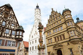 Town hall with ancient tower, city of Rothenburg, Germany — Stock Photo
